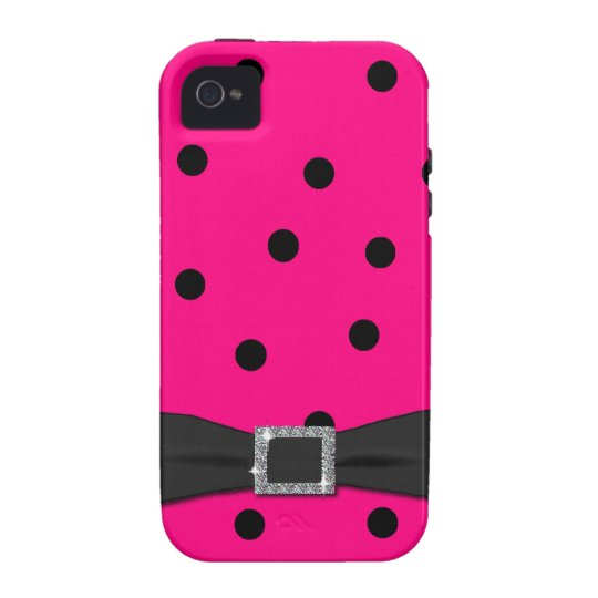 Chic Pink and Black Polka dot iPhone Tough Case