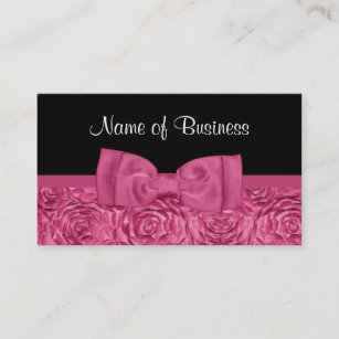 Bow business cards zazzle uk chic pink and black rose floral with girly bow business card colourmoves