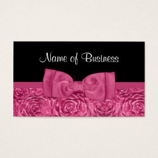 Chic Pink and Black Rose Floral With Girly Bow Business Card