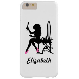 Chic Pink and Black Woman of Fashion Silhouette Barely There iPhone 6 Plus Case
