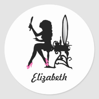 Chic Pink and Black Woman of Fashion Silhouette Classic Round Sticker