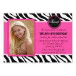 Chic Pink and Black Zebra Print Photo Invite 13 Cm X 18 Cm Invitation Card