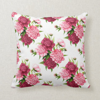 Chic Pink and Burgundy Peonies Accent Pillow