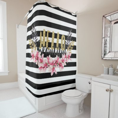 Glam Chic Gold Glitter Pink Dots Shower Curtain