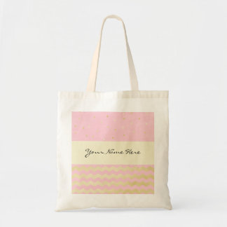 Chic Pink and Gold Triangle Confetti and Chevrons