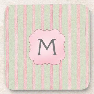 Chic Pink and Grey Stripe Monogram Coasters