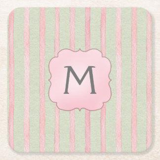 Chic Pink and Grey Stripe Monogram Square Paper Coaster