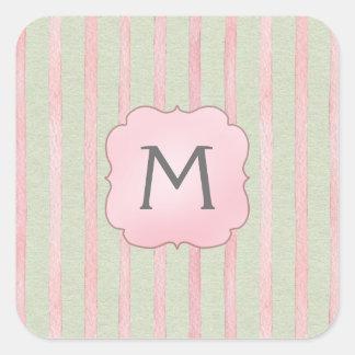 Chic Pink and Grey Stripe Monogram Square Sticker