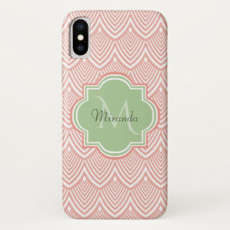 Chic Pink Arched Scallops Soft Green Monogram Name iPhone X Case