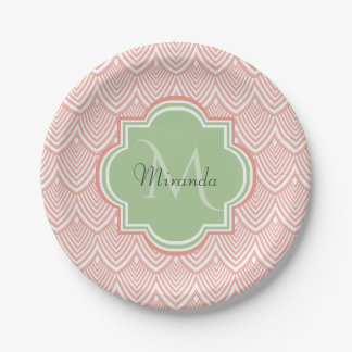 Chic Pink Arched Scallops Soft Green Monogram Name Paper Plate