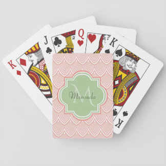 Chic Pink Arched Scallops Soft Green Monogram Name Playing Cards
