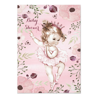 Chic Pink Ballerina Watercolor Poppies Baby Shower 13 Cm X 18 Cm Invitation Card