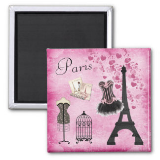 Chic Pink Black Paris Fashion Eiffel Tower Magnet