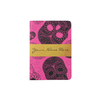 Chic Pink & Black Sugar Skulls with Gold Banner Passport Holder
