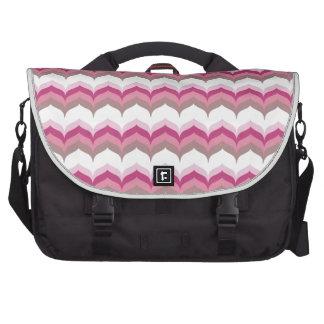 Chic Pink & Brown Chevron Laptop Computer Bag
