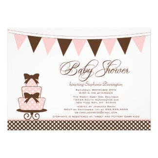 Chic pink + brown girls baby shower invitation