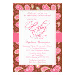 Chic pink + brown paisley baby shower invitation