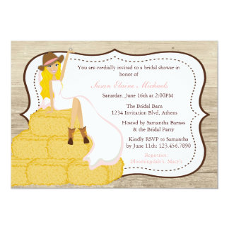 Chic Pink Cowgirl Country Bride Bridal Shower 13 Cm X 18 Cm Invitation Card