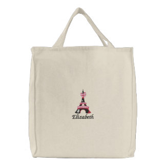 chic Pink Eiffel Tower Paris Personalized Embroidered Tote Bag