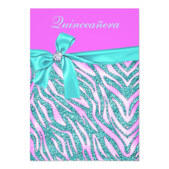 Chic Pink Fake Glitter Zebra Quinceanera Party Card