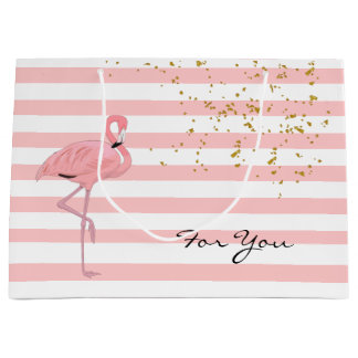 Chic Pink Flamingo and Stripes Gift Bag