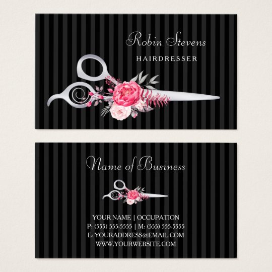 Chic Pink Floral Hairdresser Faux Silver Scissors Business