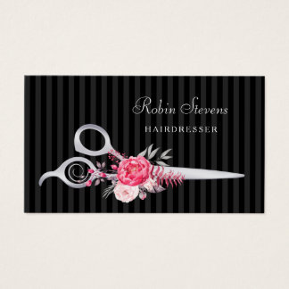 Chic Pink Floral Hairdresser Faux Silver Scissors Business Card