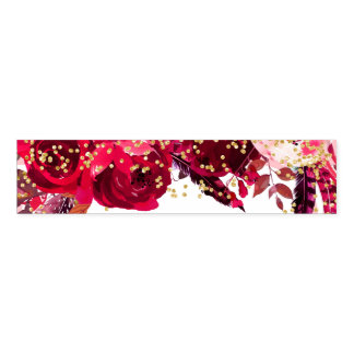 Chic Pink Floral Stripes & Gold Confetti Wedding Napkin Band