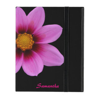 Chic Pink Flower Personalized iPad Folio Case