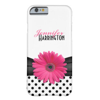 Chic Pink Gerbera Daisy Polka Dot Barely There iPhone 6 Case