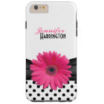 Chic Pink Gerbera Daisy Polka Dot Flower