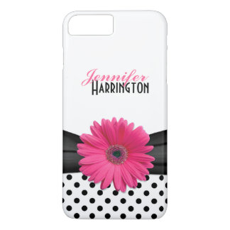 Chic Pink Gerbera Daisy Polka Dot iPhone 7 Plus Case