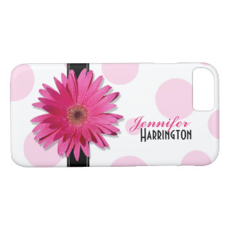 Chic Pink Gerbera Daisy Polka Dot iPhone 8/7 Case