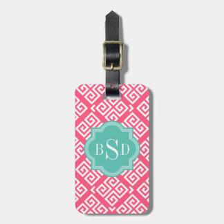 Chic pink girly greek key patterns monogram luggage tag