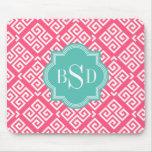 Chic pink girly greek key patterns monogram mouse pad