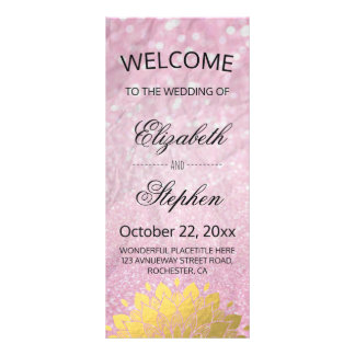 Chic Pink Glitter and Gold Floral Wedding Program Customized Rack Card