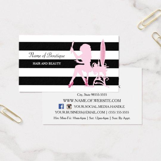 Chic Pink Glitz Girl Black Stripes Hair Boutique