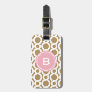 Chic pink gold abstract geometric pattern monogram luggage tag