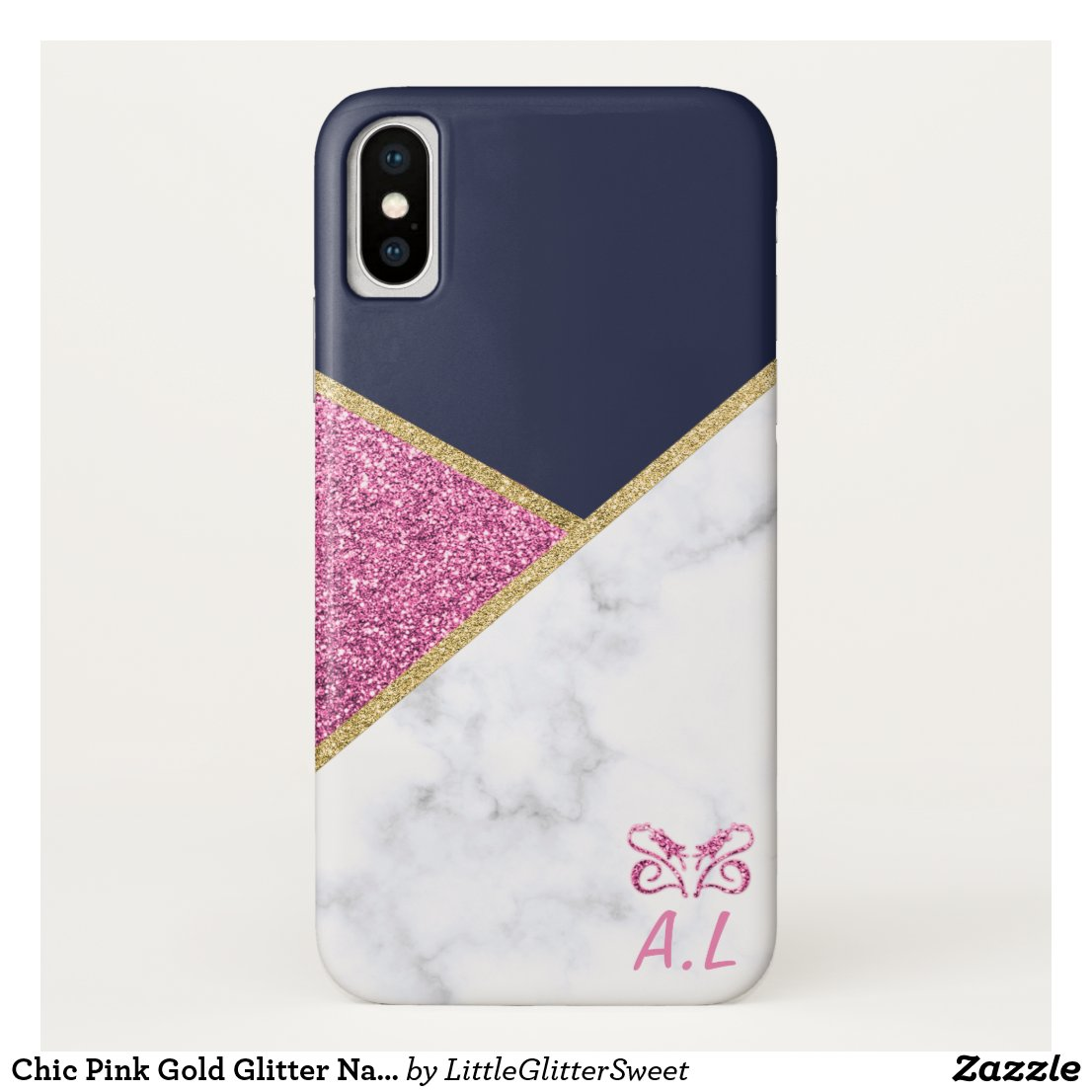 Chic Pink Gold Glitter Navy Marble Monogram Case-Mate iPhone Case