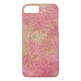 Chic Pink Gold Watercolor Confetti iPhone 8/7 Case