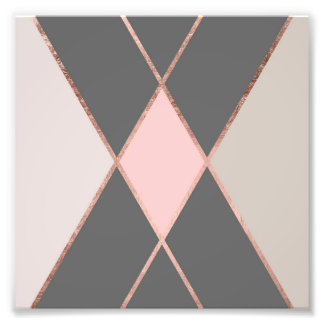 Chic pink gray color block rose gold stripes photo print