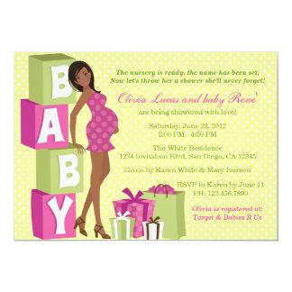 Chic Pink Green Polka Dot Modern Mom Baby Shower 13 Cm X 18 Cm Invitation Card