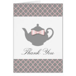 Chic Pink + Grey Teapot Trellis Thank You Card