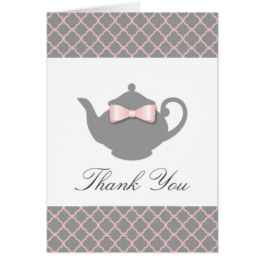 Chic Pink + Grey Teapot Trellis Thank You