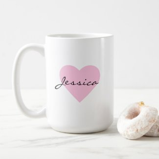 Chic Pink Heart Personalised Coffee Mug