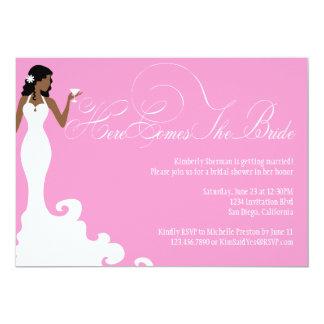 """Chic Pink Here Comes the Bride Shower Invite 5"""" X 7"""" Invitation Card"""