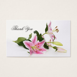 Chic Pink Lilies Floral Thank You Business Card