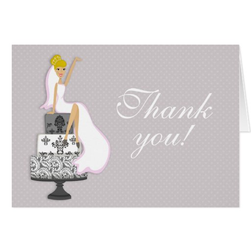 Bridal Shower Gift Greeting Card : Chic Pink Modern Bride Bridal Shower Thank You Greeting Cards Zazzle