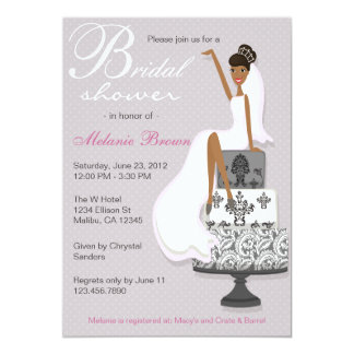 Chic Pink Modern Bride Contemporary Bridal Shower 13 Cm X 18 Cm Invitation Card