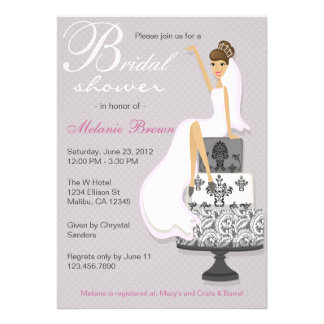 Chic Pink Modern Bride Contemporary Bridal Shower Personalized Invitation
